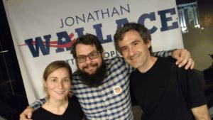 Campaign Manager Briana Bivens, Tim, & Operations Manager Chris Dowd at the Jonathan Wallace victory party
